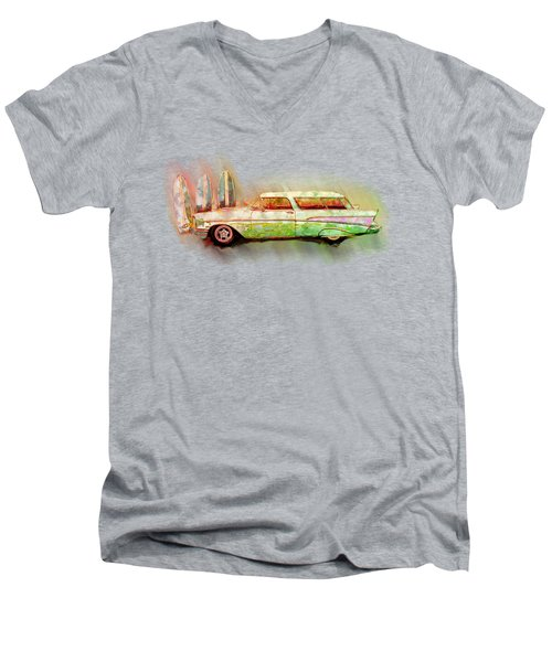 57 Chevy Nomad Wagon Blowing Beach Sand Men's V-Neck T-Shirt