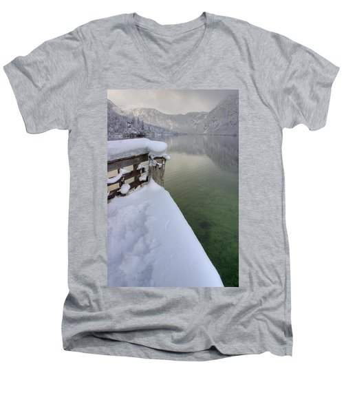 Men's V-Neck T-Shirt featuring the photograph Alpine Winter Reflections by Ian Middleton