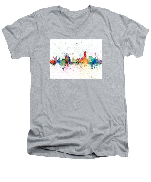 Barcelona Spain Skyline Men's V-Neck T-Shirt by Michael Tompsett