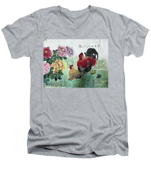 Chinese Painting Men's V-Neck T-Shirt