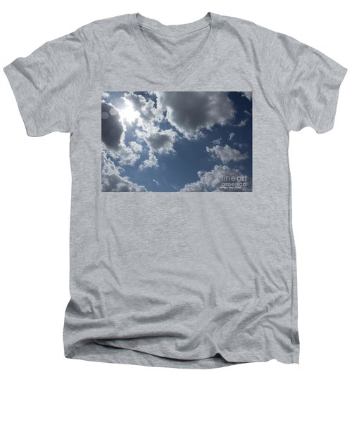 Men's V-Neck T-Shirt featuring the photograph 6-gon Boken Sky by Megan Dirsa-DuBois