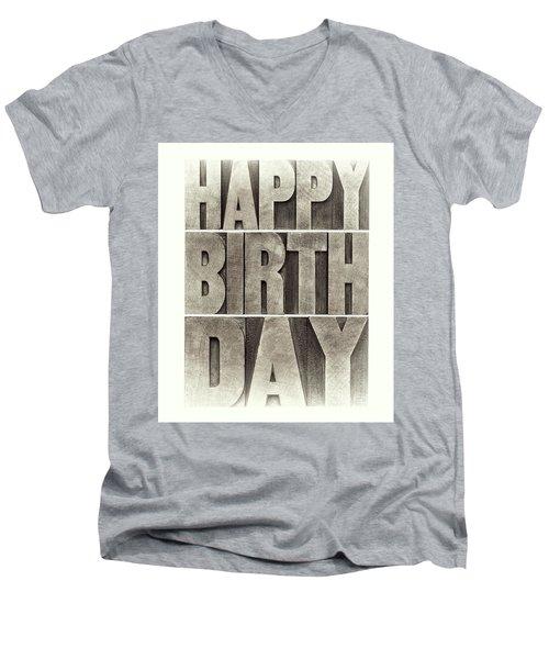 Happy Birthday Greeting Card Men's V-Neck T-Shirt