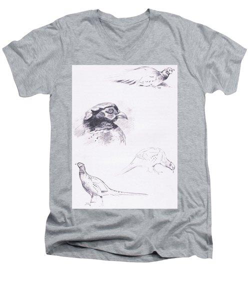 Pheasants Men's V-Neck T-Shirt by Archibald Thorburn