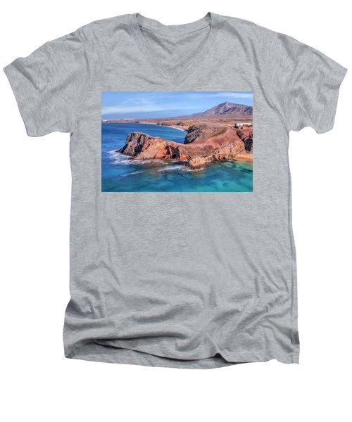 Playa Papagayo - Lanzarote Men's V-Neck T-Shirt by Joana Kruse