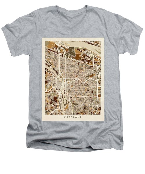 Men's V-Neck T-Shirt featuring the digital art Portland Oregon City Map by Michael Tompsett