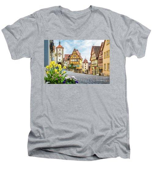 Rothenburg Ob Der Tauber Men's V-Neck T-Shirt by JR Photography
