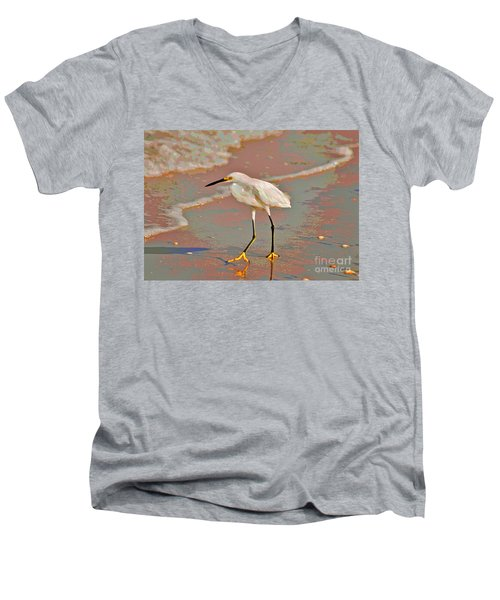 Men's V-Neck T-Shirt featuring the photograph 6- Snowy Egret by Joseph Keane
