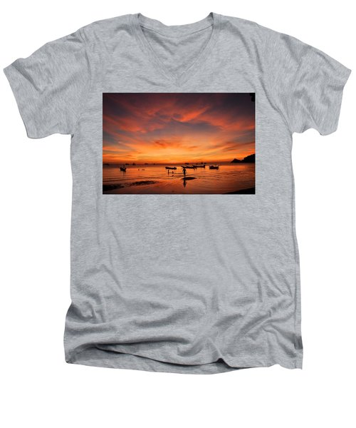 Sunrise On Koh Tao Island In Thailand Men's V-Neck T-Shirt by Tamara Sushko