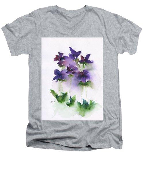 6 Violets Abstract Men's V-Neck T-Shirt