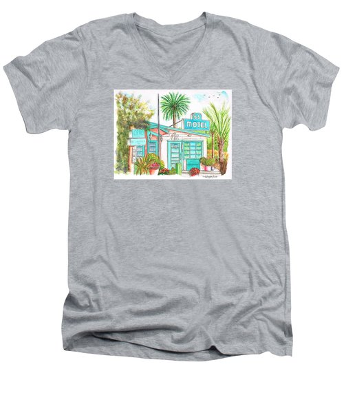 66 Motel In Needles, California Men's V-Neck T-Shirt