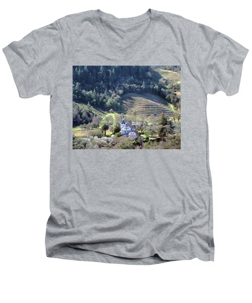 6b6312 Falcon Crest Winery Grounds Men's V-Neck T-Shirt