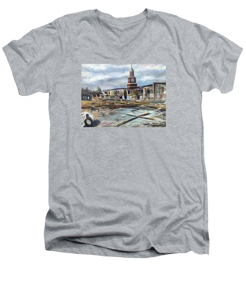 Men's V-Neck T-Shirt featuring the painting Union University Jackson Tennessee 7 02 P M by Randol Burns