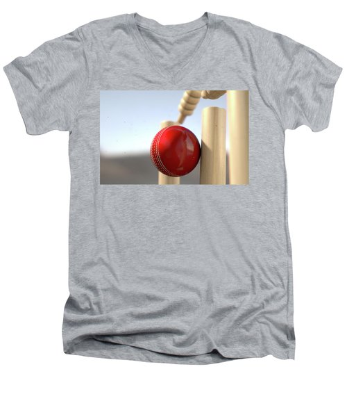 Cricket Ball Hitting Wickets Men's V-Neck T-Shirt by Allan Swart