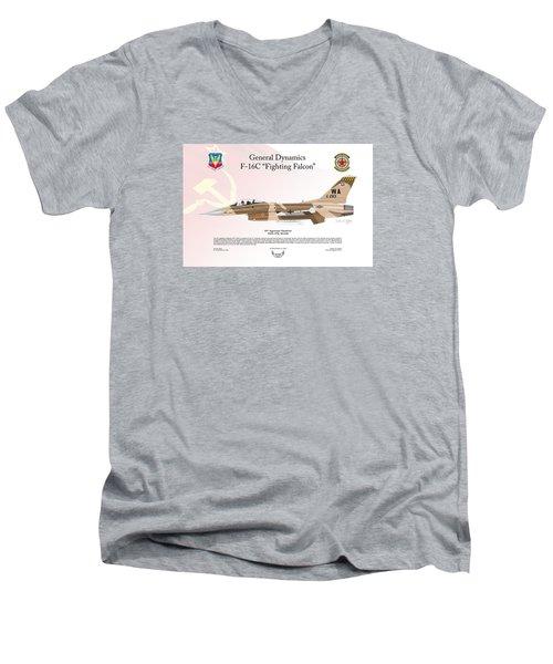 Men's V-Neck T-Shirt featuring the digital art General Dynamics F-16 Fighting Falcon Aggressors by Arthur Eggers