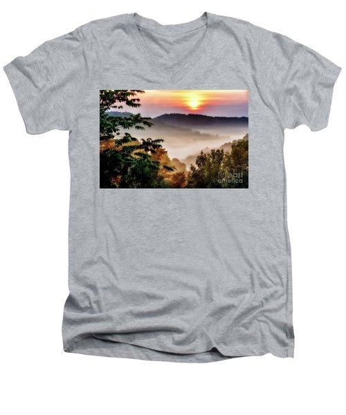 Mountain Sunrise Men's V-Neck T-Shirt by Thomas R Fletcher