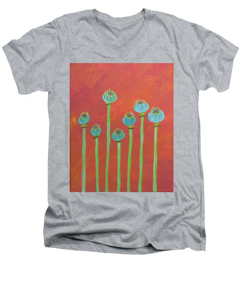 7 Poppy Seed Pods Men's V-Neck T-Shirt