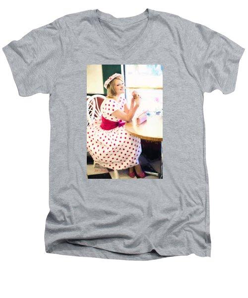 Vintage Val Iced Tea Time Men's V-Neck T-Shirt