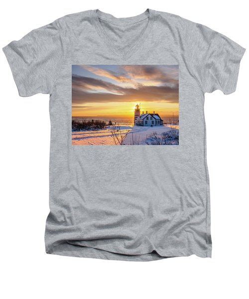 West Quoddy Head Lighthouse Men's V-Neck T-Shirt by Trace Kittrell