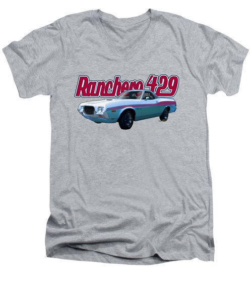 72 Ford Ranchero By The Sea Men's V-Neck T-Shirt