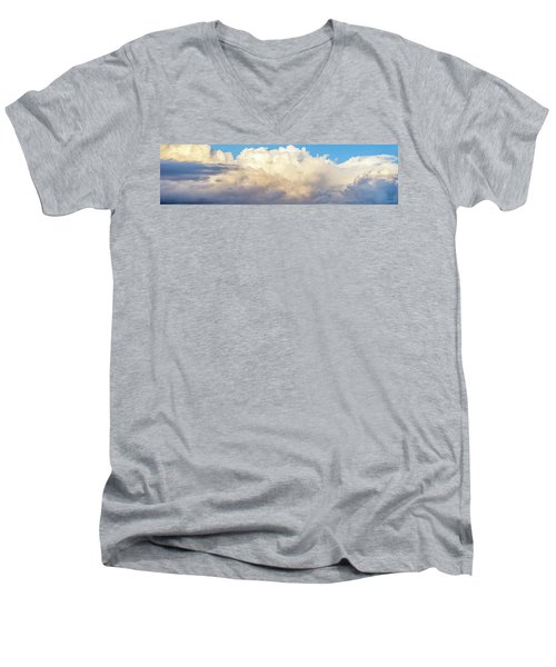 Men's V-Neck T-Shirt featuring the photograph Clouds by Les Cunliffe