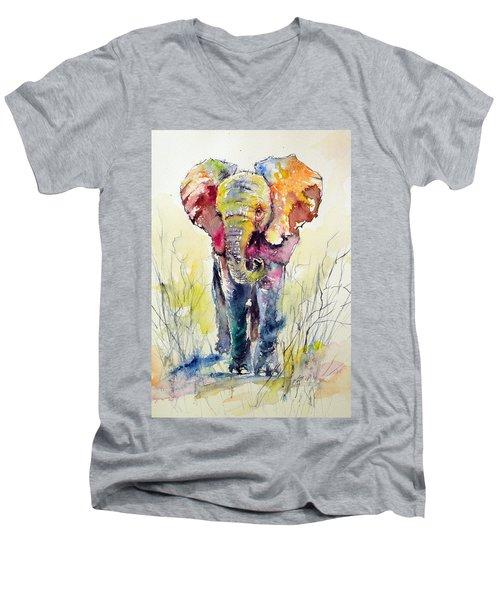 Elephant Men's V-Neck T-Shirt by Kovacs Anna Brigitta