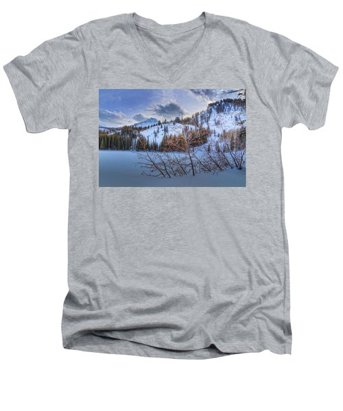 Wasatch Mountains In Winter Men's V-Neck T-Shirt by Utah Images