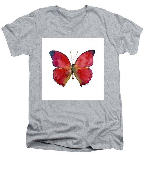 83 Red Glider Butterfly Men's V-Neck T-Shirt