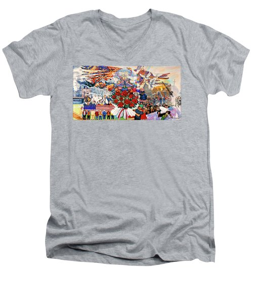 9/11 Memorial Towel Version Men's V-Neck T-Shirt