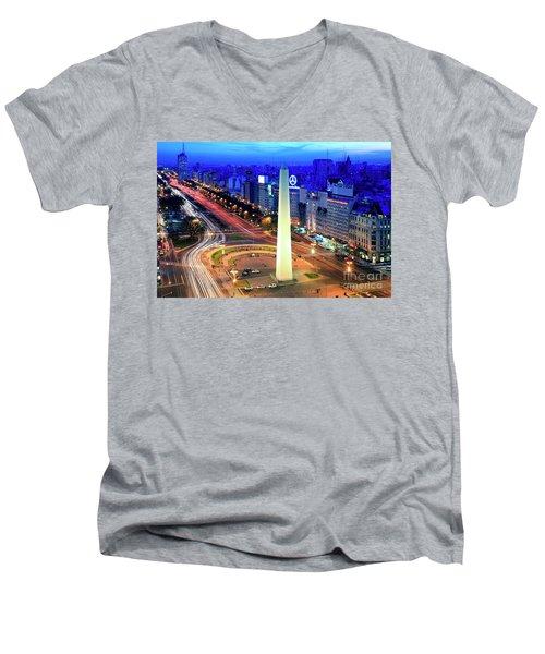 9 De Julio Avenue Men's V-Neck T-Shirt by Bernardo Galmarini