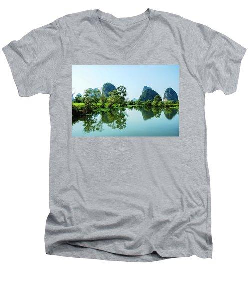 Karst Rural Scenery Men's V-Neck T-Shirt