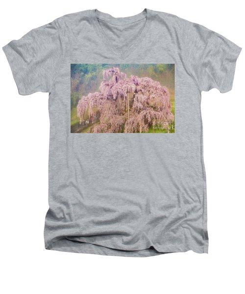 Men's V-Neck T-Shirt featuring the photograph Miharu Takizakura Weeping Cherry09 by Tatsuya Atarashi