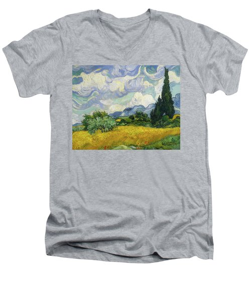 Men's V-Neck T-Shirt featuring the painting Wheat Field With Cypresses by Vincent van Gogh