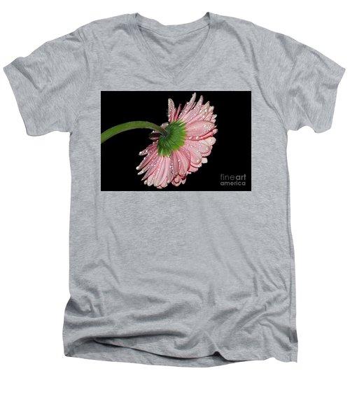 Pink Gerber Men's V-Neck T-Shirt by Elvira Ladocki