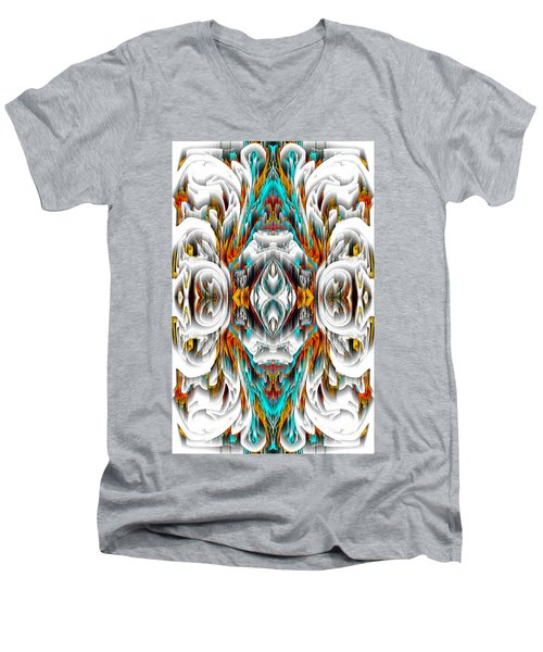 Men's V-Neck T-Shirt featuring the digital art 992.042212mirror2ornategold-1-a by Kris Haas
