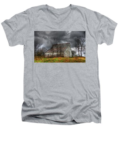 A Barn In The Storm 3 Men's V-Neck T-Shirt by Karen McKenzie McAdoo