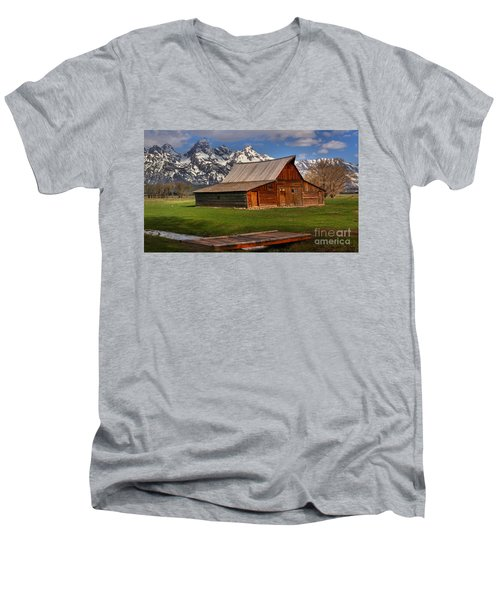 A Barn In The Tetons Men's V-Neck T-Shirt by Adam Jewell