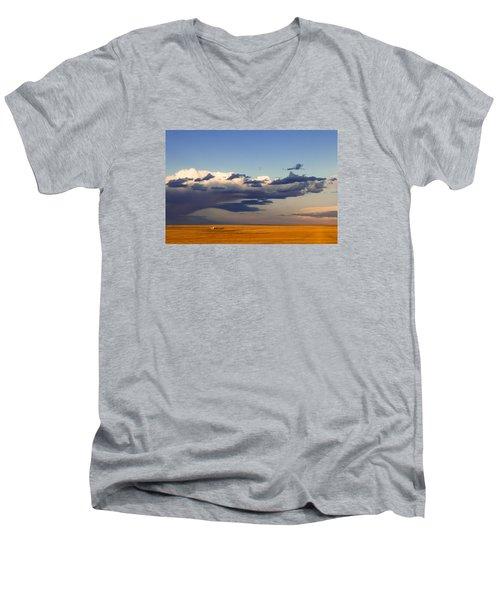 A Barn On The Prairie Men's V-Neck T-Shirt by Monte Stevens