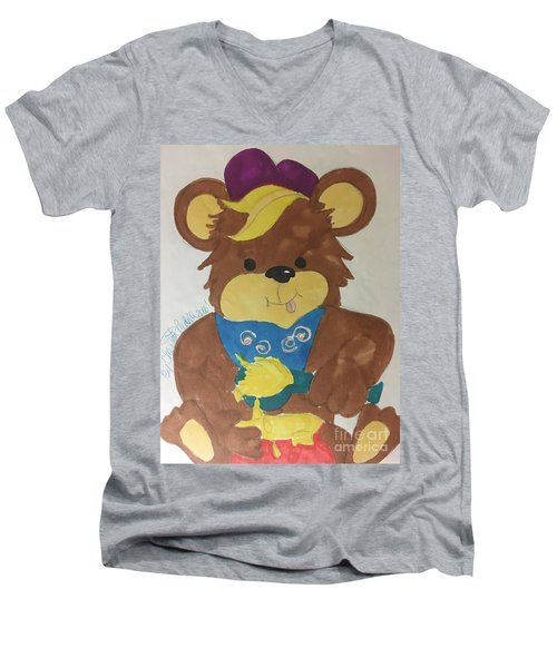 A Bear Loves Honey Men's V-Neck T-Shirt