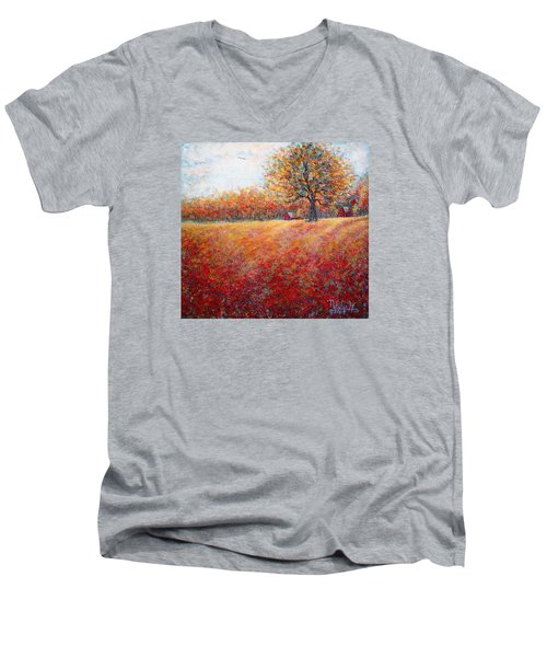 Men's V-Neck T-Shirt featuring the painting A Beautiful Autumn Day by Natalie Holland