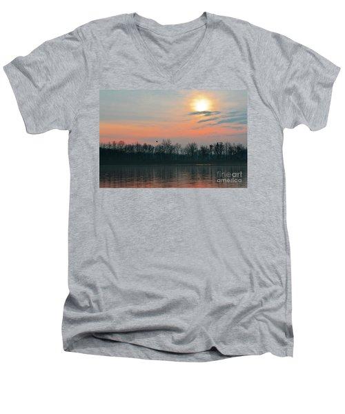 A Beautiful Morning At The Delaware River Men's V-Neck T-Shirt
