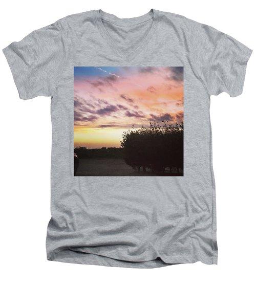 A Beautiful Morning Sky At 06:30 This Men's V-Neck T-Shirt by John Edwards