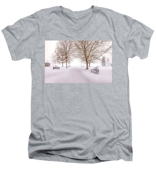 Men's V-Neck T-Shirt featuring the photograph A Beautiful Winter's Morning  by John Poon