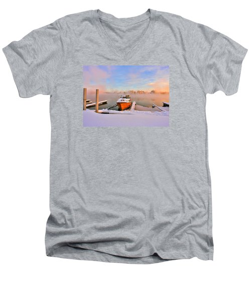 Boat On Frozen Lake Men's V-Neck T-Shirt