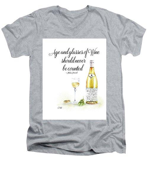 A Bottle Of White Wine Men's V-Neck T-Shirt