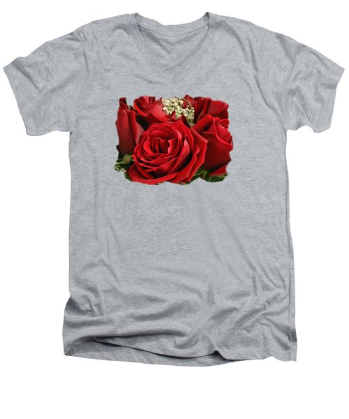 A Bouquet Of Red Roses Men's V-Neck T-Shirt by Sue Melvin