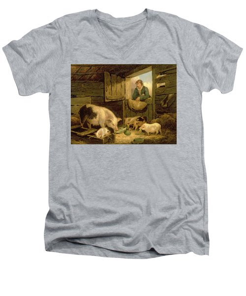 A Boy Looking Into A Pig Sty Men's V-Neck T-Shirt