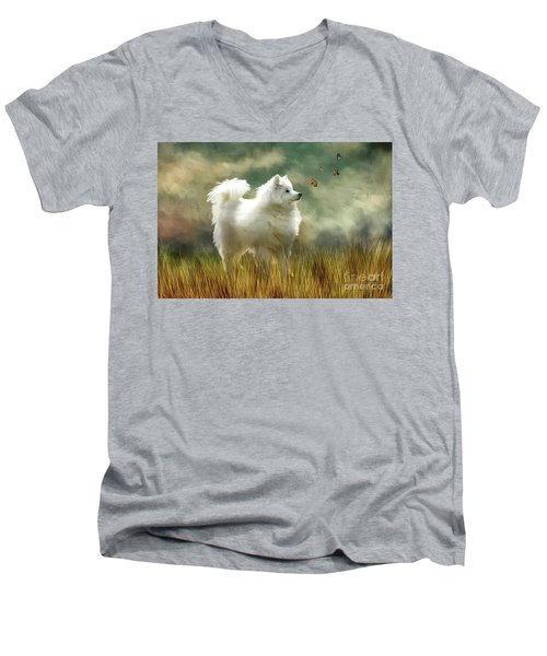 Men's V-Neck T-Shirt featuring the digital art A Brief Encounter by Lois Bryan