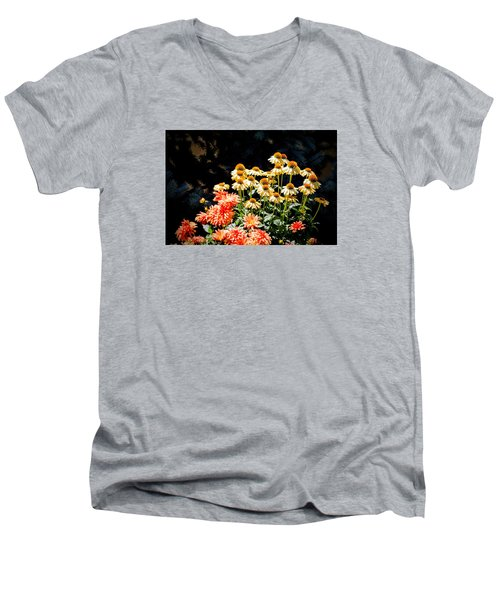 Men's V-Neck T-Shirt featuring the photograph A Bright Flower Patch by AJ  Schibig