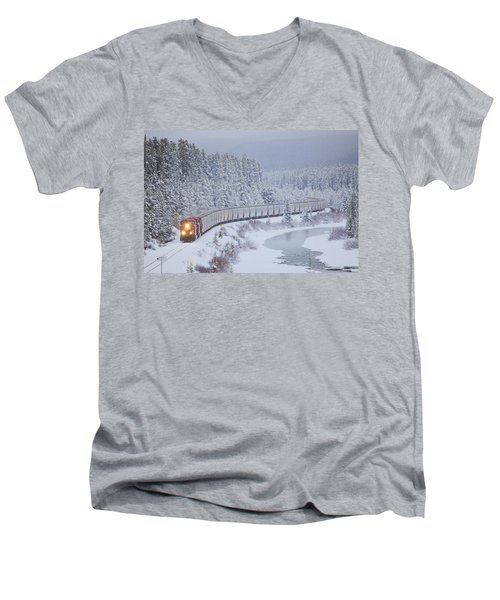 A Canadian Pacific Train Travels Along Men's V-Neck T-Shirt by Chris Bolin