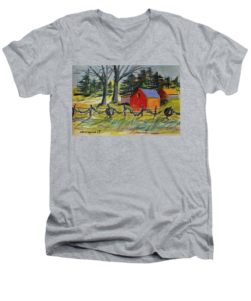 Men's V-Neck T-Shirt featuring the painting A Change Of Season by John Williams